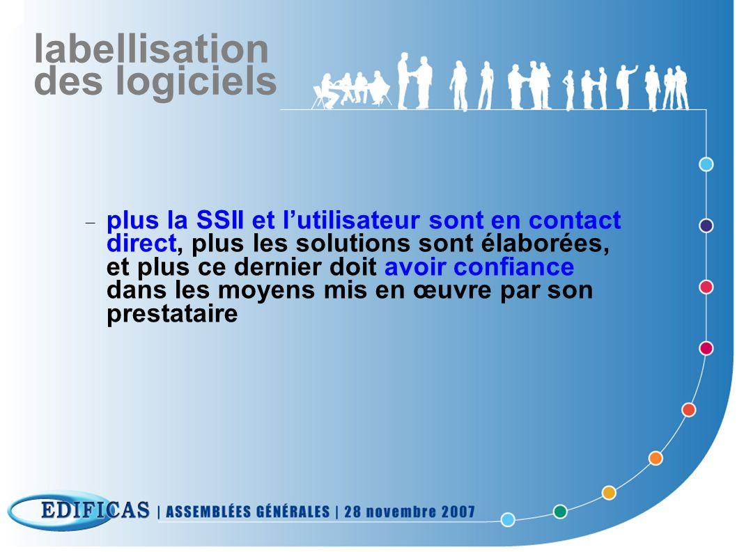 labellisation des logiciels plus la SSII et lutilisateur sont en contact direct, plus les solutions sont élaborées, et plus ce dernier doit avoir conf