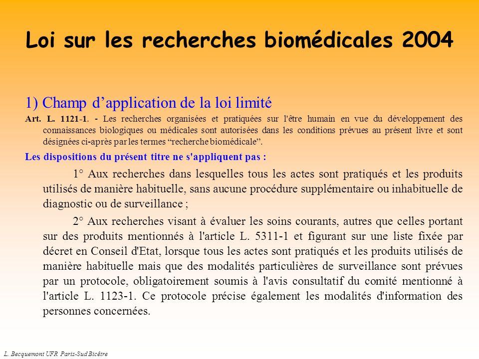 L. Becquemont UFR Paris-Sud Bicêtre Loi sur les recherches biomédicales 2004 1) Champ dapplication de la loi limité Art. L. 1121-1. - Les recherches o