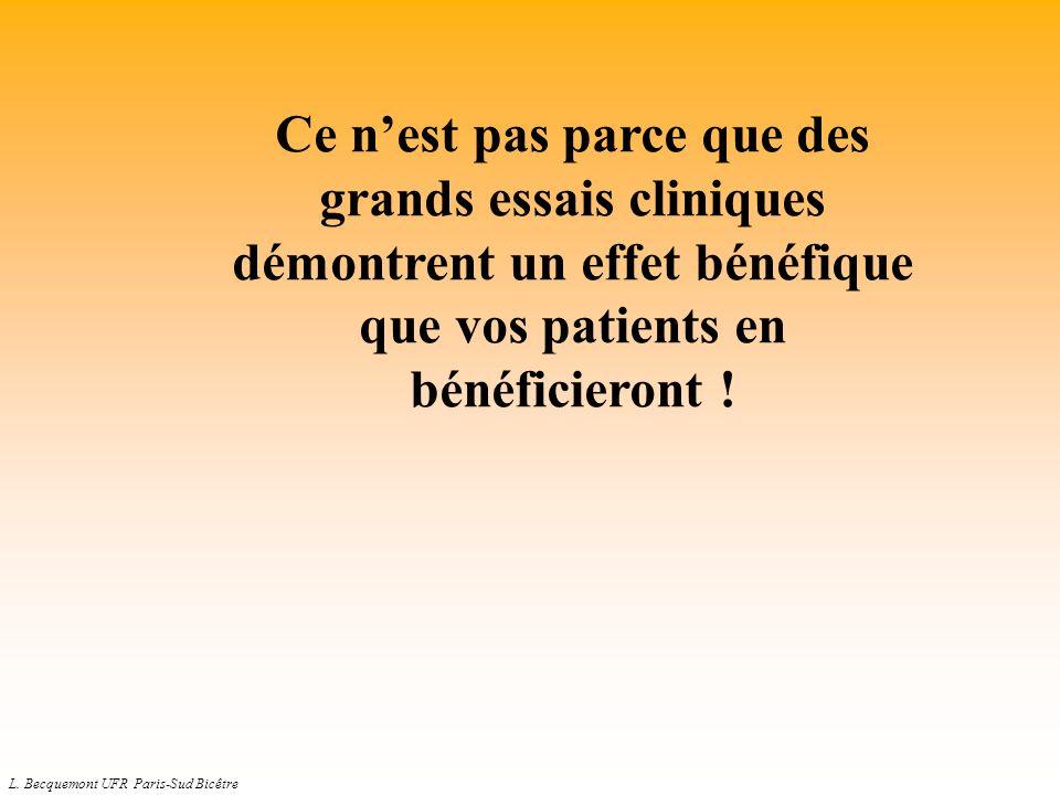 L. Becquemont UFR Paris-Sud Bicêtre Ce nest pas parce que des grands essais cliniques démontrent un effet bénéfique que vos patients en bénéficieront