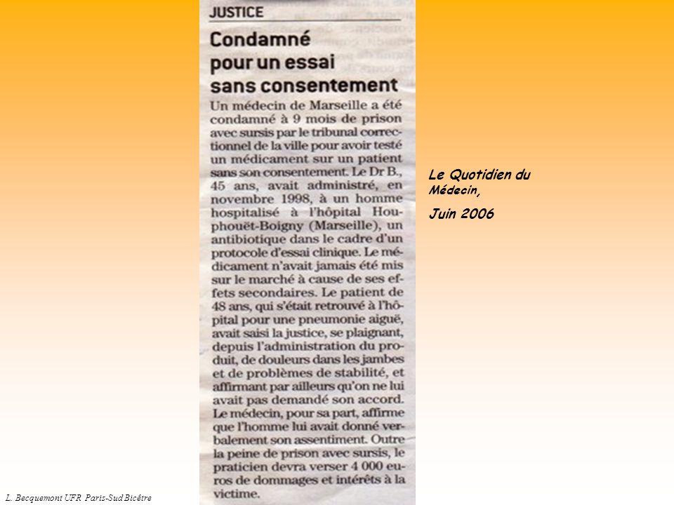 L. Becquemont UFR Paris-Sud Bicêtre Le Quotidien du Médecin, Juin 2006