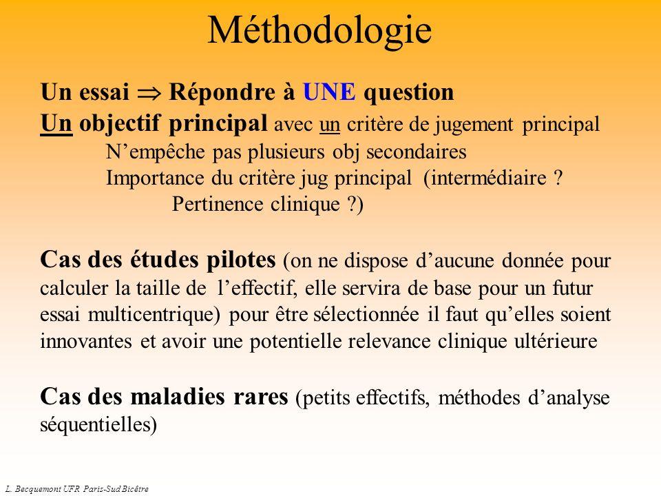 L. Becquemont UFR Paris-Sud Bicêtre Méthodologie Un essai Répondre à UNE question Un objectif principal avec un critère de jugement principal Nempêche