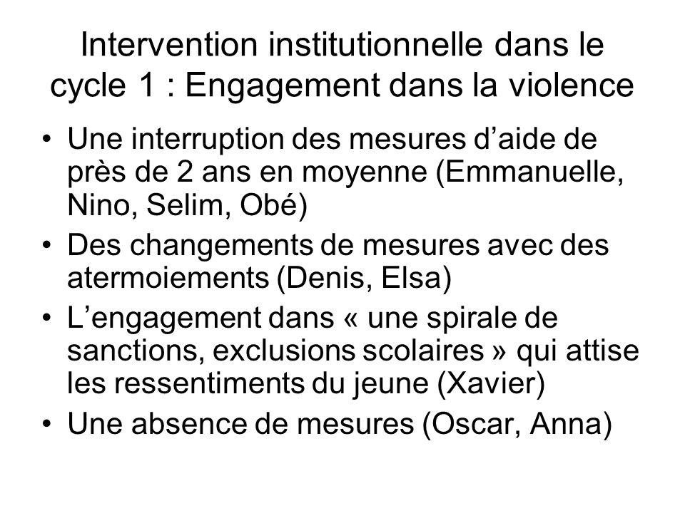 Intervention institutionnelle dans le cycle 1 : Engagement dans la violence Une interruption des mesures daide de près de 2 ans en moyenne (Emmanuelle
