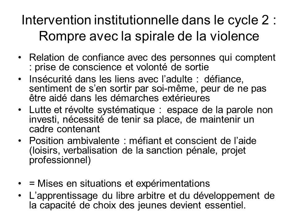 Intervention institutionnelle dans le cycle 2 : Rompre avec la spirale de la violence Relation de confiance avec des personnes qui comptent : prise de