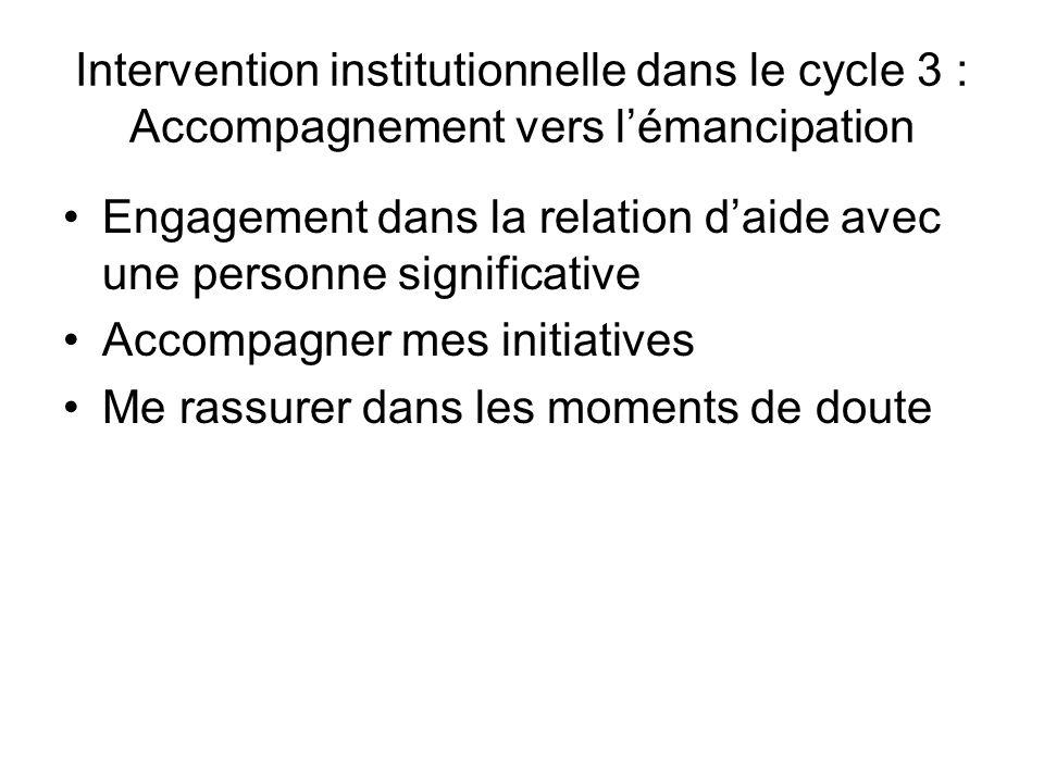 Intervention institutionnelle dans le cycle 3 : Accompagnement vers lémancipation Engagement dans la relation daide avec une personne significative Ac