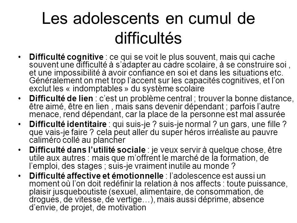 Les adolescents en cumul de difficultés Difficulté cognitive : ce qui se voit le plus souvent, mais qui cache souvent une difficulté à sadapter au cad