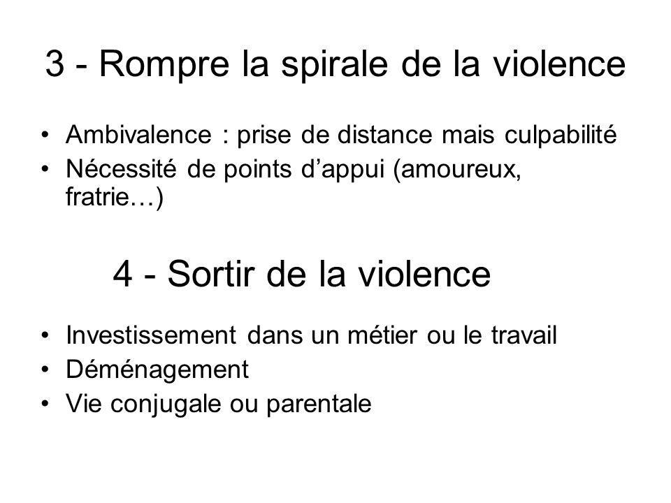 3 - Rompre la spirale de la violence Ambivalence : prise de distance mais culpabilité Nécessité de points dappui (amoureux, fratrie…) Investissement d