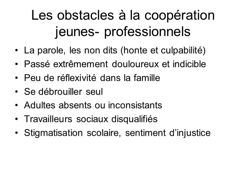 Les obstacles à la coopération jeunes- professionnels La parole, les non dits (honte et culpabilité) Passé extrêmement douloureux et indicible Peu de