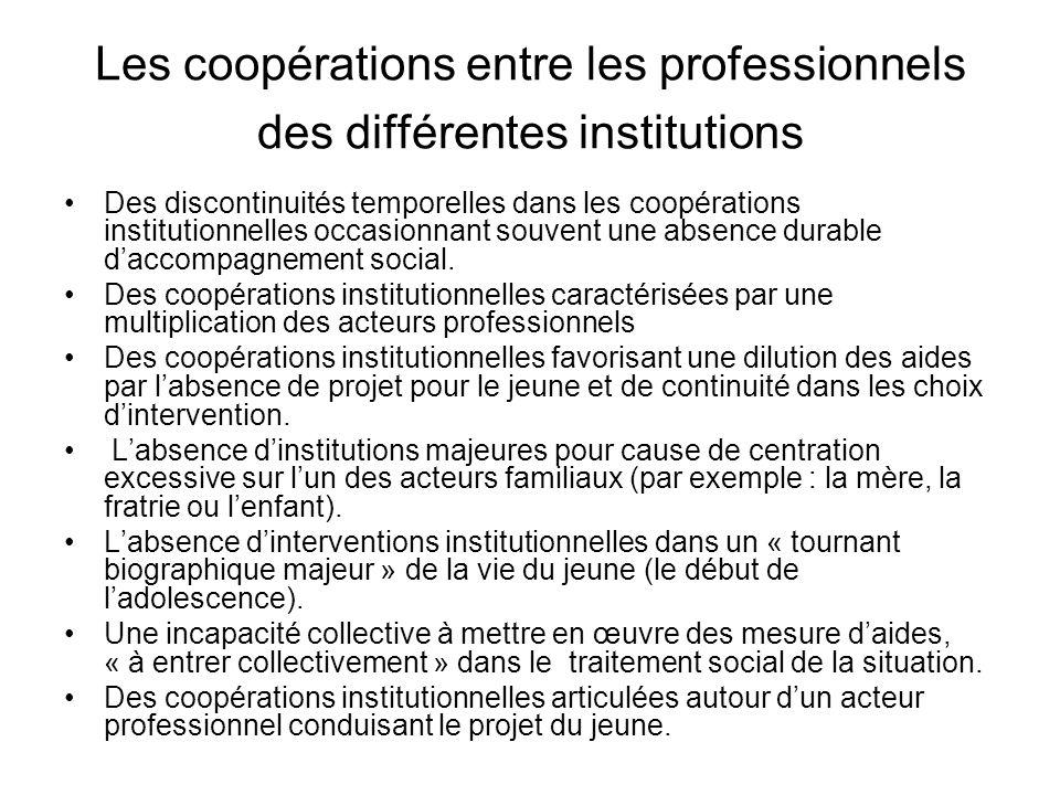 Les coopérations entre les professionnels des différentes institutions Des discontinuités temporelles dans les coopérations institutionnelles occasion