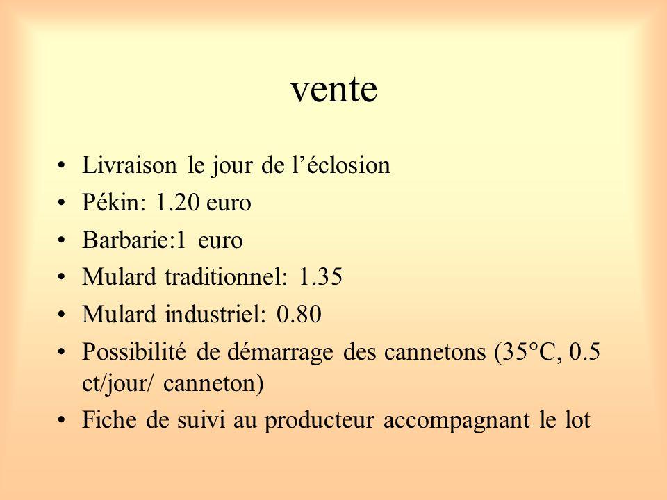 vente Livraison le jour de léclosion Pékin: 1.20 euro Barbarie:1 euro Mulard traditionnel: 1.35 Mulard industriel: 0.80 Possibilité de démarrage des c