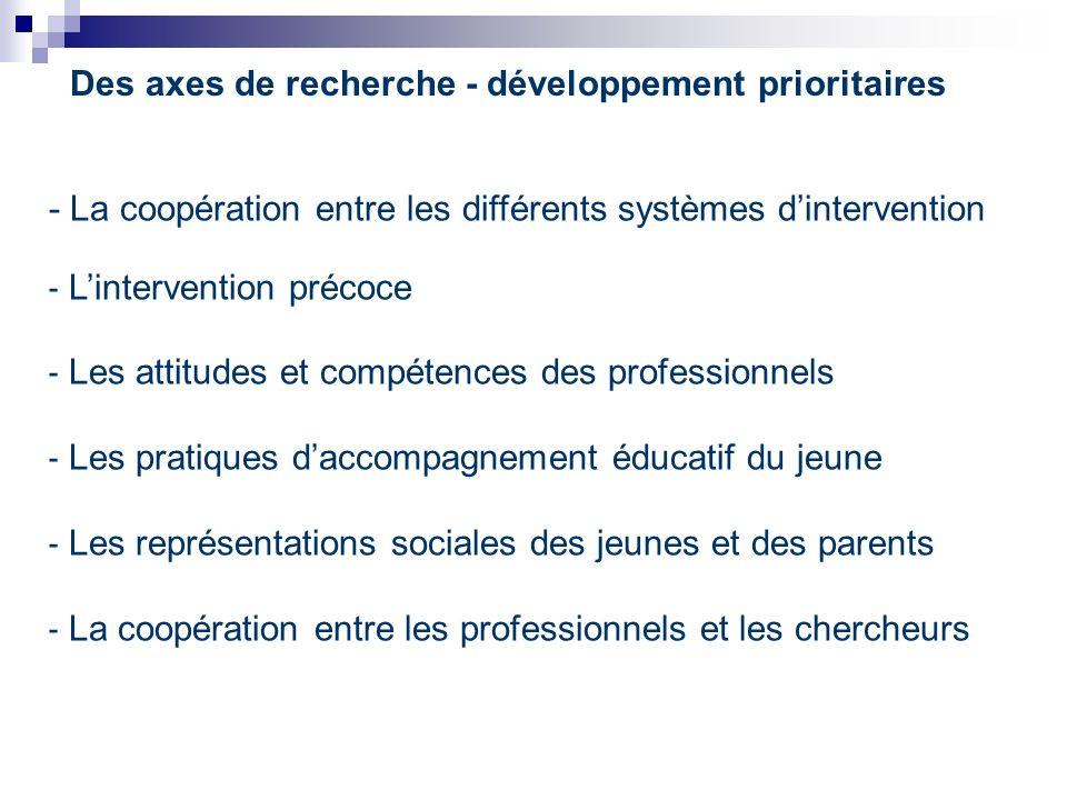 Des axes de recherche - développement prioritaires - La coopération entre les différents systèmes dintervention - Lintervention précoce - Les attitudes et compétences des professionnels - Les pratiques daccompagnement éducatif du jeune - Les représentations sociales des jeunes et des parents - La coopération entre les professionnels et les chercheurs