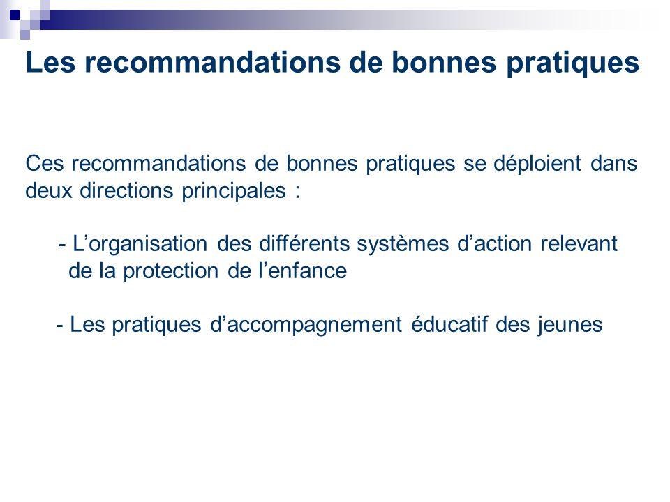 Les recommandations de bonnes pratiques Ces recommandations de bonnes pratiques se déploient dans deux directions principales : - Lorganisation des différents systèmes daction relevant de la protection de lenfance - Les pratiques daccompagnement éducatif des jeunes