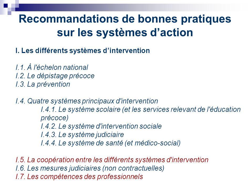 Recommandations de bonnes pratiques sur les systèmes daction I.