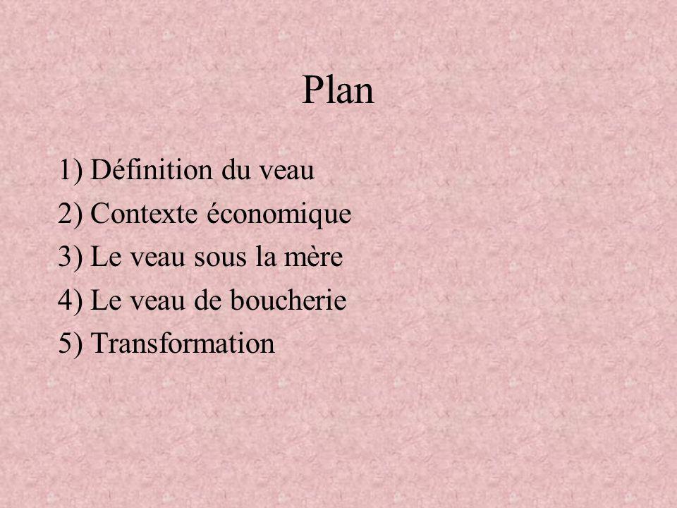 Plan 1) Définition du veau 2) Contexte économique 3) Le veau sous la mère 4) Le veau de boucherie 5) Transformation