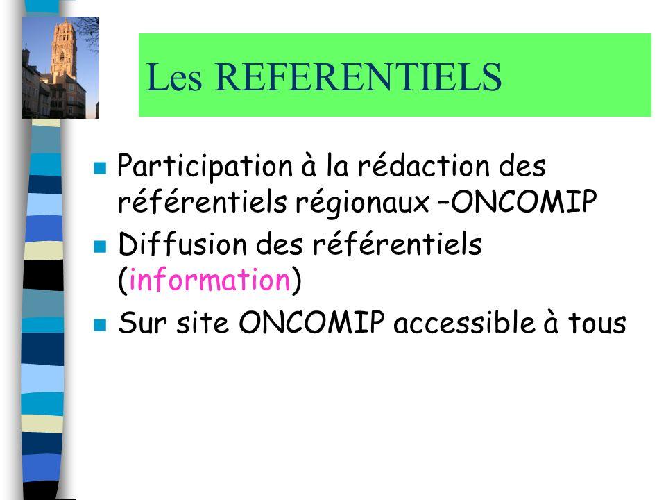 Les REFERENTIELS n Participation à la rédaction des référentiels régionaux –ONCOMIP n Diffusion des référentiels (information) n Sur site ONCOMIP acce