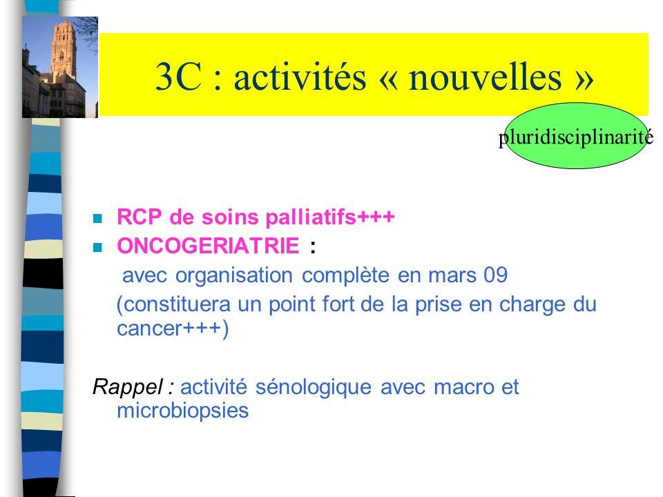 3C : activités « nouvelles » n RCP de soins palliatifs+++ n ONCOGERIATRIE : avec organisation complète en mars 09 (constituera un point fort de la pri