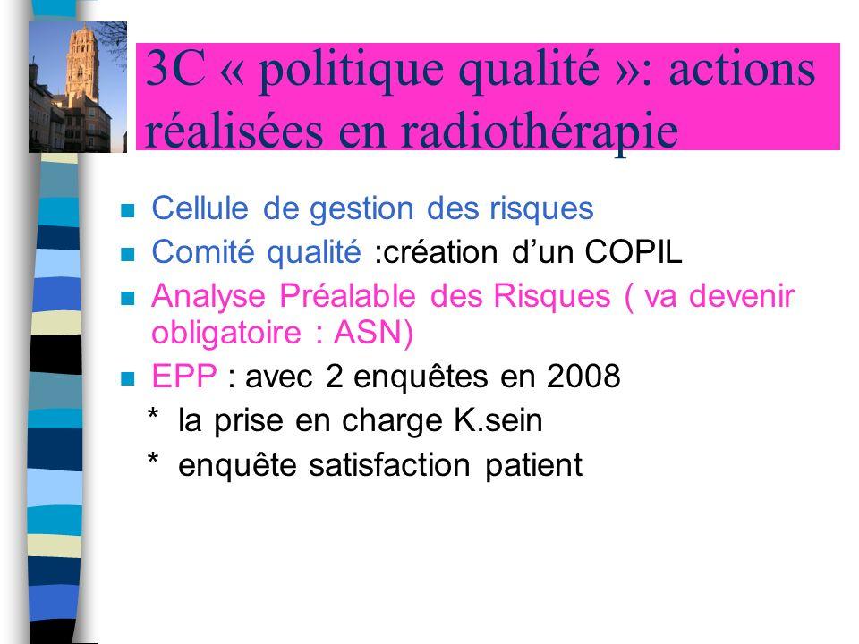 3C « politique qualité »: actions réalisées en radiothérapie n Cellule de gestion des risques n Comité qualité :création dun COPIL n Analyse Préalable