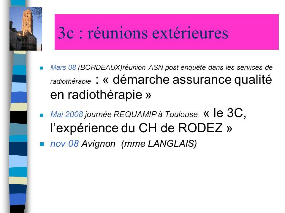 3c : réunions extérieures n Mars 08 (BORDEAUX)réunion ASN post enquête dans les services de radiothérapie : « démarche assurance qualité en radiothéra
