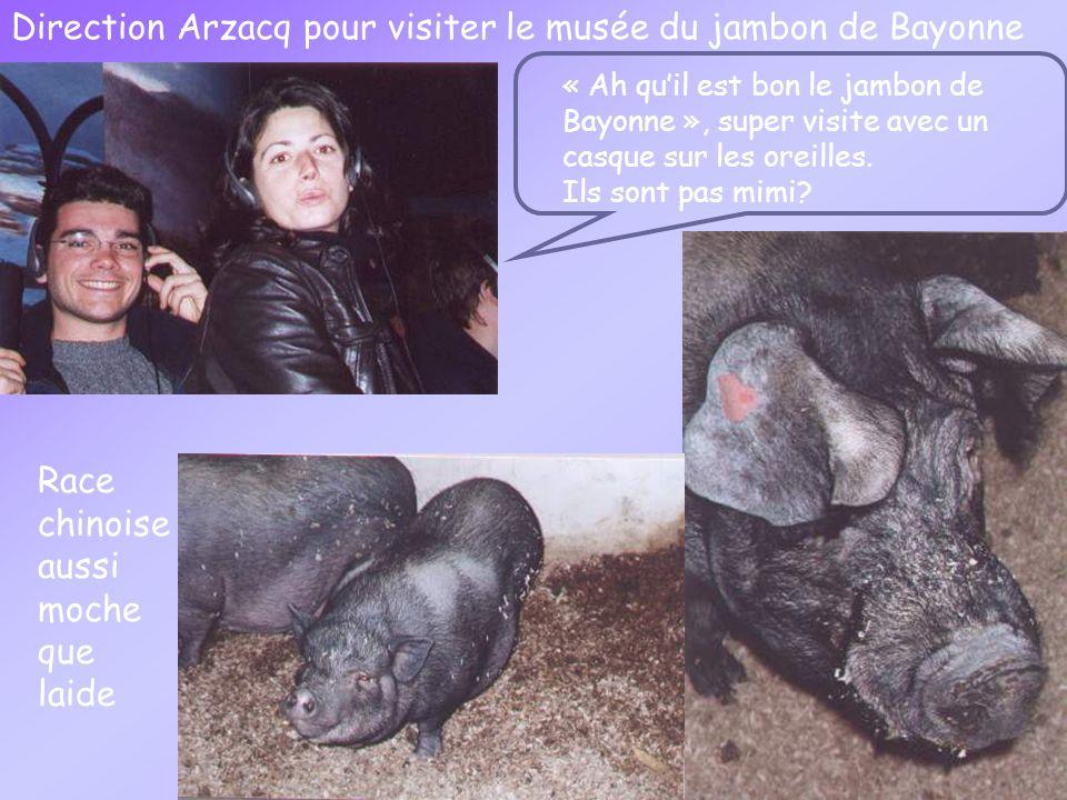 Direction Arzacq pour visiter le musée du jambon de Bayonne « Ah quil est bon le jambon de Bayonne », super visite avec un casque sur les oreilles.