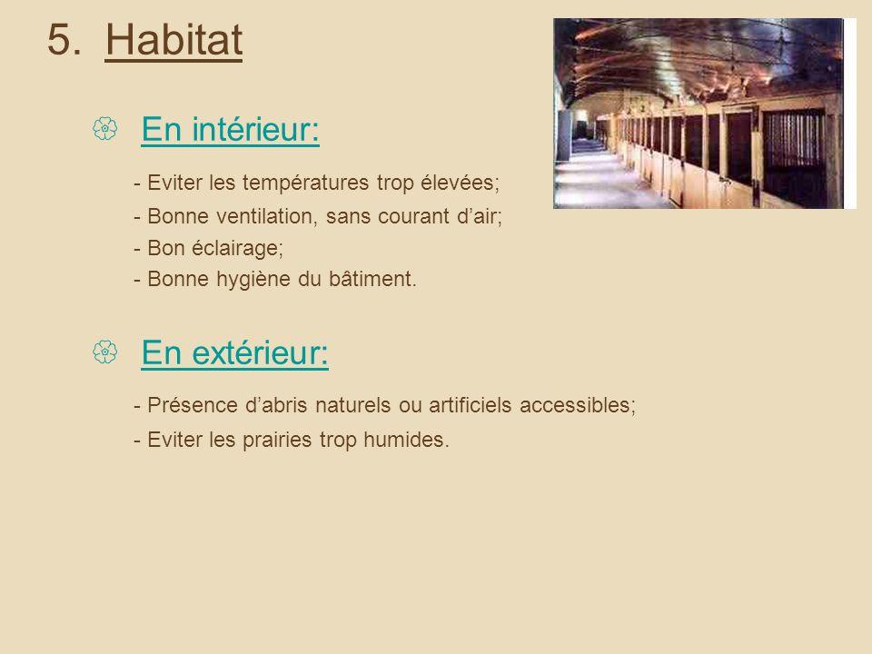 5.Habitat En intérieur: - Eviter les températures trop élevées; - Bonne ventilation, sans courant dair; - Bon éclairage; - Bonne hygiène du bâtiment.