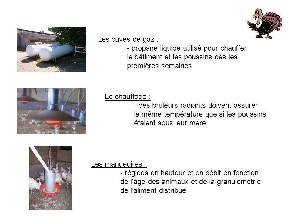 Les cuves de gaz : - propane liquide utilisé pour chauffer le bâtiment et les poussins dès les premières semaines Le chauffage : - des bruleurs radian