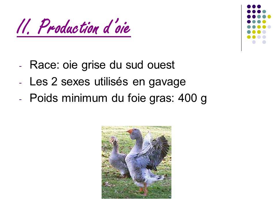 II. Production doie - Race: oie grise du sud ouest - Les 2 sexes utilisés en gavage - Poids minimum du foie gras: 400 g