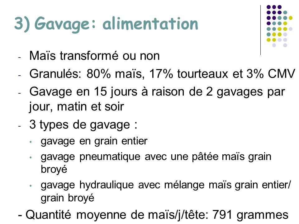 3) Gavage: alimentation - Maïs transformé ou non - Granulés: 80% maïs, 17% tourteaux et 3% CMV - Gavage en 15 jours à raison de 2 gavages par jour, matin et soir - 3 types de gavage : gavage en grain entier gavage pneumatique avec une pâtée maïs grain broyé gavage hydraulique avec mélange maïs grain entier/ grain broyé - Quantité moyenne de maïs/j/tête: 791 grammes