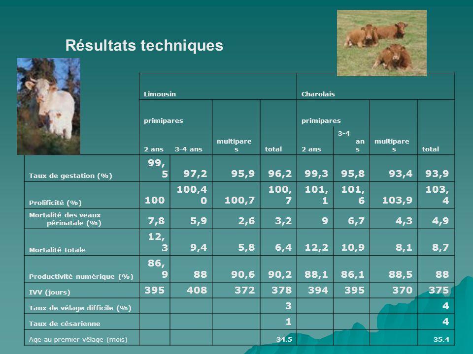 LimousinCharolais primipares multipare stotal primipares multipare stotal 2 ans3-4 ans2 ans 3-4 an s Taux de gestation (%) 99, 597,295,996,299,395,893