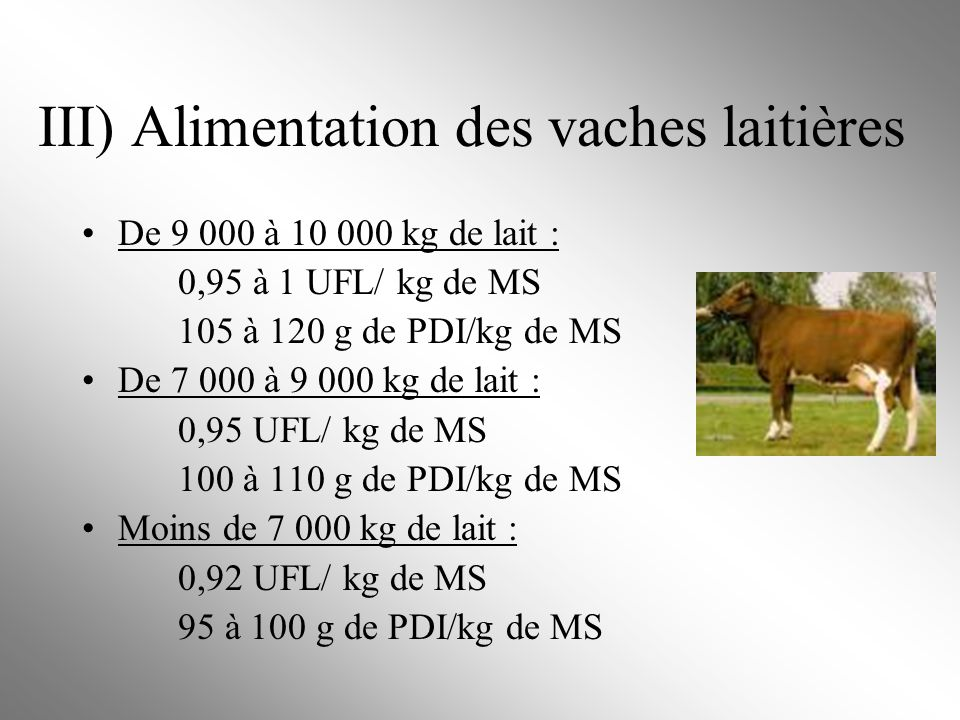 III) Alimentation des vaches laitières De 9 000 à 10 000 kg de lait : 0,95 à 1 UFL/ kg de MS 105 à 120 g de PDI/kg de MS De 7 000 à 9 000 kg de lait :
