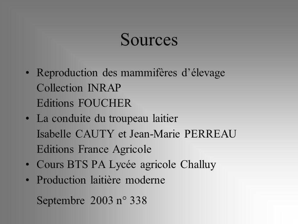 Sources Reproduction des mammifères délevage Collection INRAP Editions FOUCHER La conduite du troupeau laitier Isabelle CAUTY et Jean-Marie PERREAU Ed