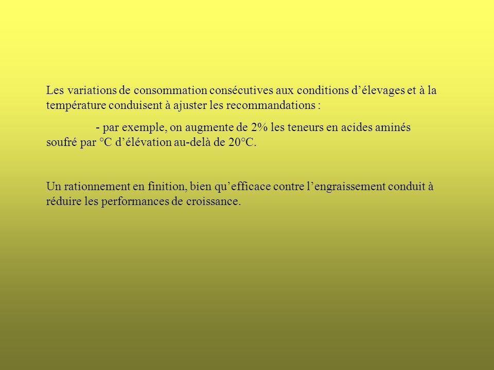 Les variations de consommation consécutives aux conditions délevages et à la température conduisent à ajuster les recommandations : - par exemple, on