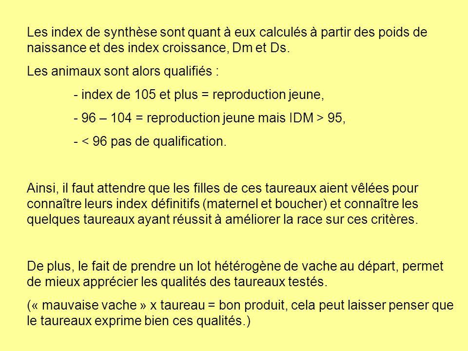Les index de synthèse sont quant à eux calculés à partir des poids de naissance et des index croissance, Dm et Ds. Les animaux sont alors qualifiés :