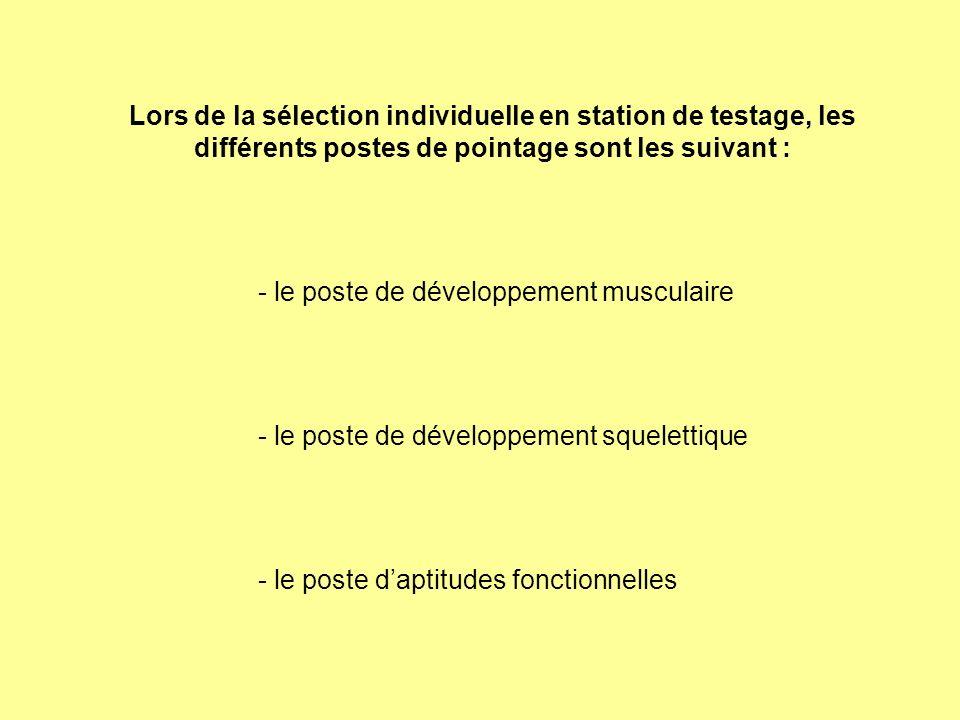 Lors de la sélection individuelle en station de testage, les différents postes de pointage sont les suivant : - le poste de développement musculaire -
