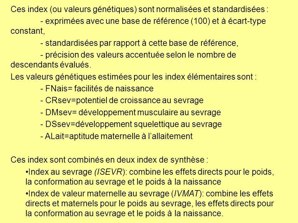 Ces index (ou valeurs génétiques) sont normalisées et standardisées : - exprimées avec une base de référence (100) et à écart-type constant, - standar