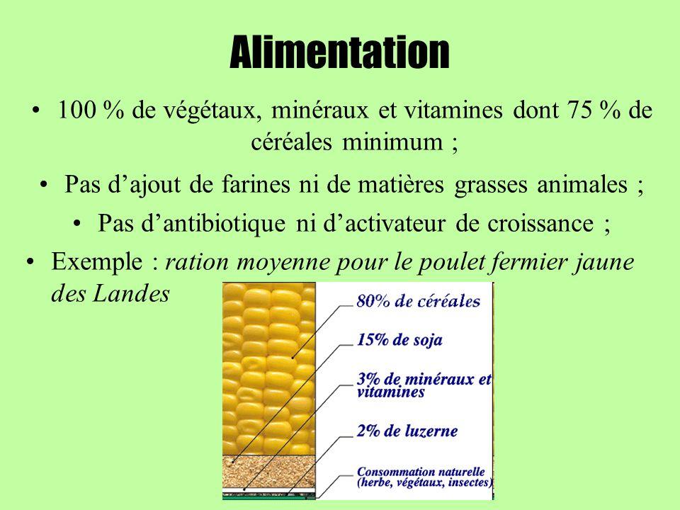 Alimentation 100 % de végétaux, minéraux et vitamines dont 75 % de céréales minimum ; Pas dajout de farines ni de matières grasses animales ; Pas dant