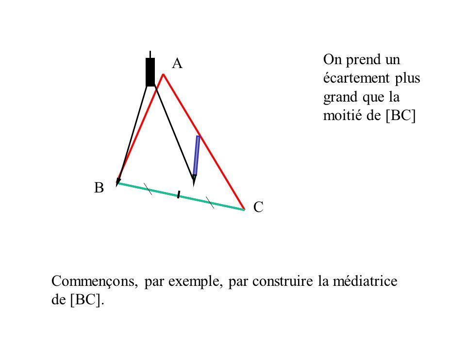 A B C Commençons, par exemple, par construire la médiatrice de [BC]. On prend un écartement plus grand que la moitié de [BC]