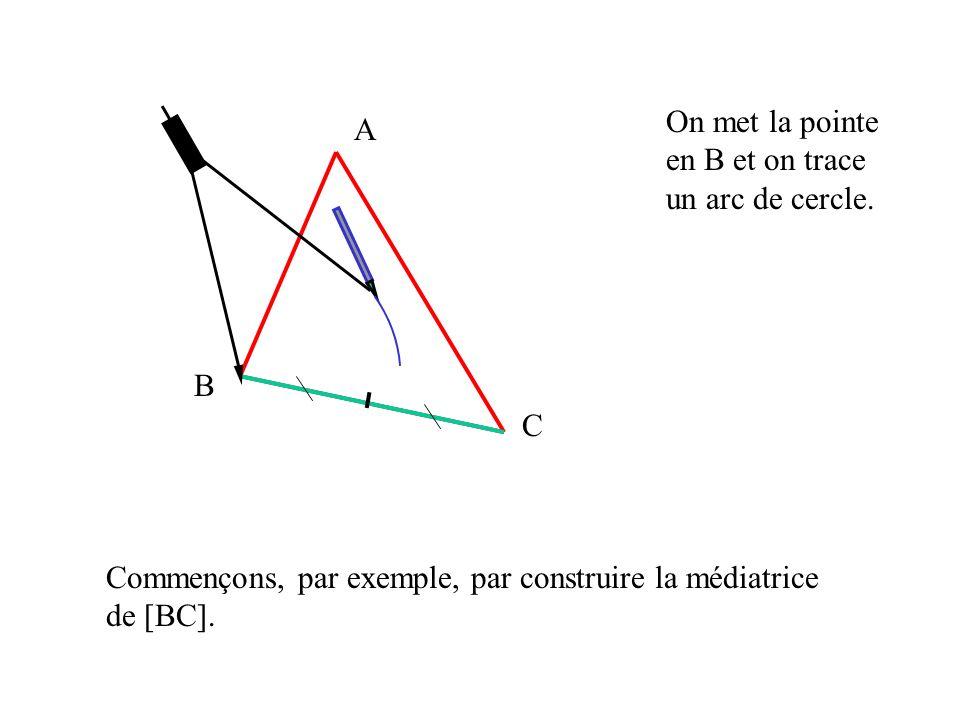 A B C Commençons, par exemple, par construire la médiatrice de [BC].