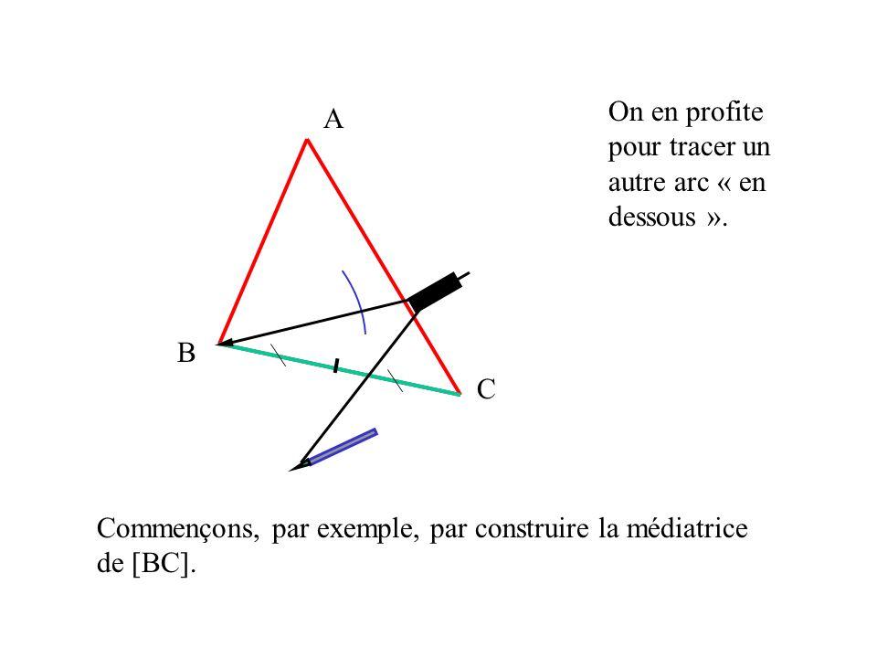 A B C Commençons, par exemple, par construire la médiatrice de [BC]. On en profite pour tracer un autre arc « en dessous ».