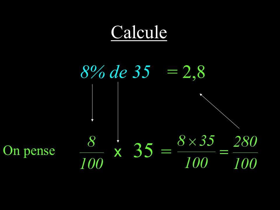CALCUL MENTAL Pourcentage de...