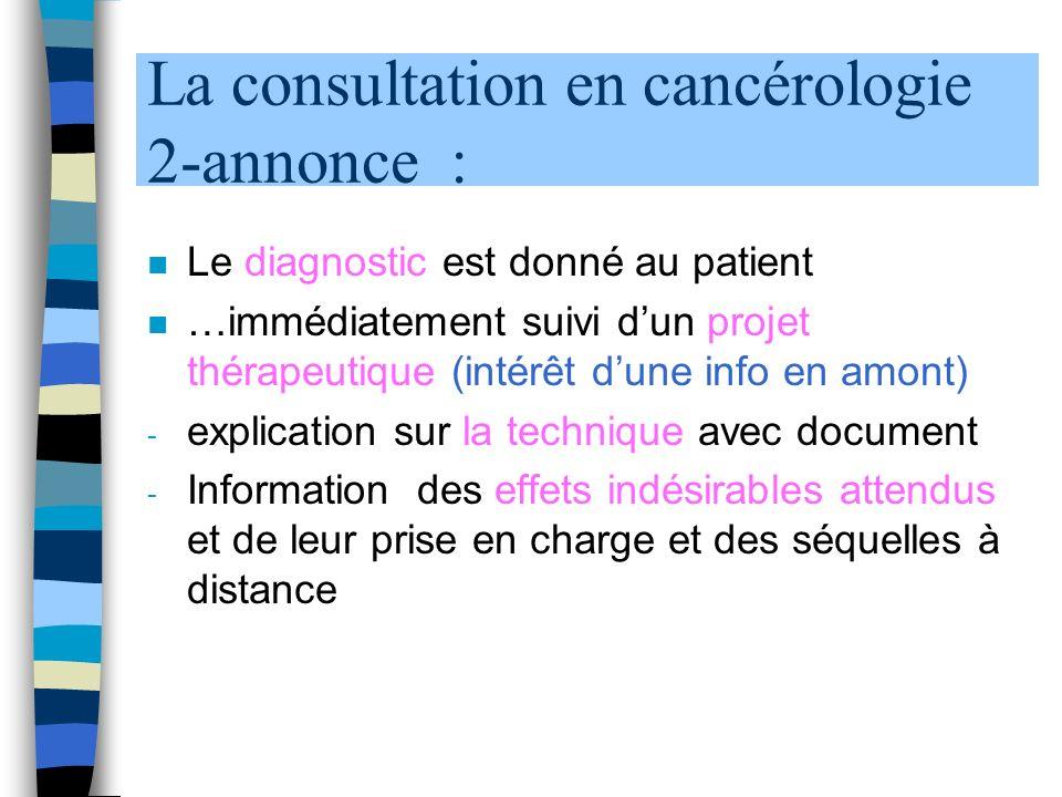 La consultation en cancérologie 2-annonce : n Le diagnostic est donné au patient n …immédiatement suivi dun projet thérapeutique (intérêt dune info en amont) - explication sur la technique avec document - Information des effets indésirables attendus et de leur prise en charge et des séquelles à distance