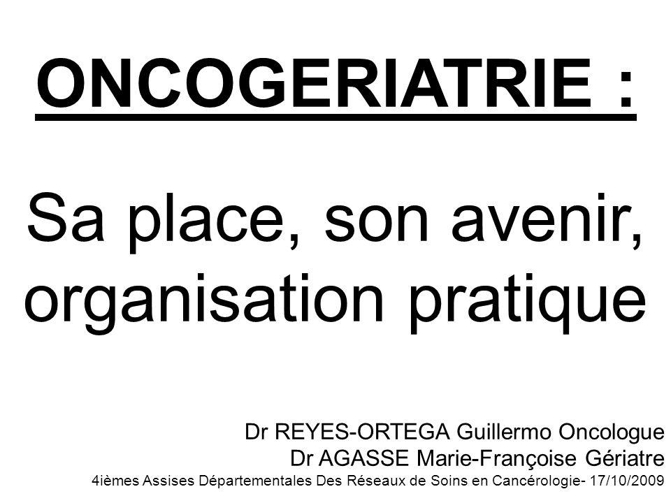ONCOGERIATRIE : Sa place, son avenir, organisation pratique Dr REYES-ORTEGA Guillermo Oncologue Dr AGASSE Marie-Françoise Gériatre 4ièmes Assises Dépa