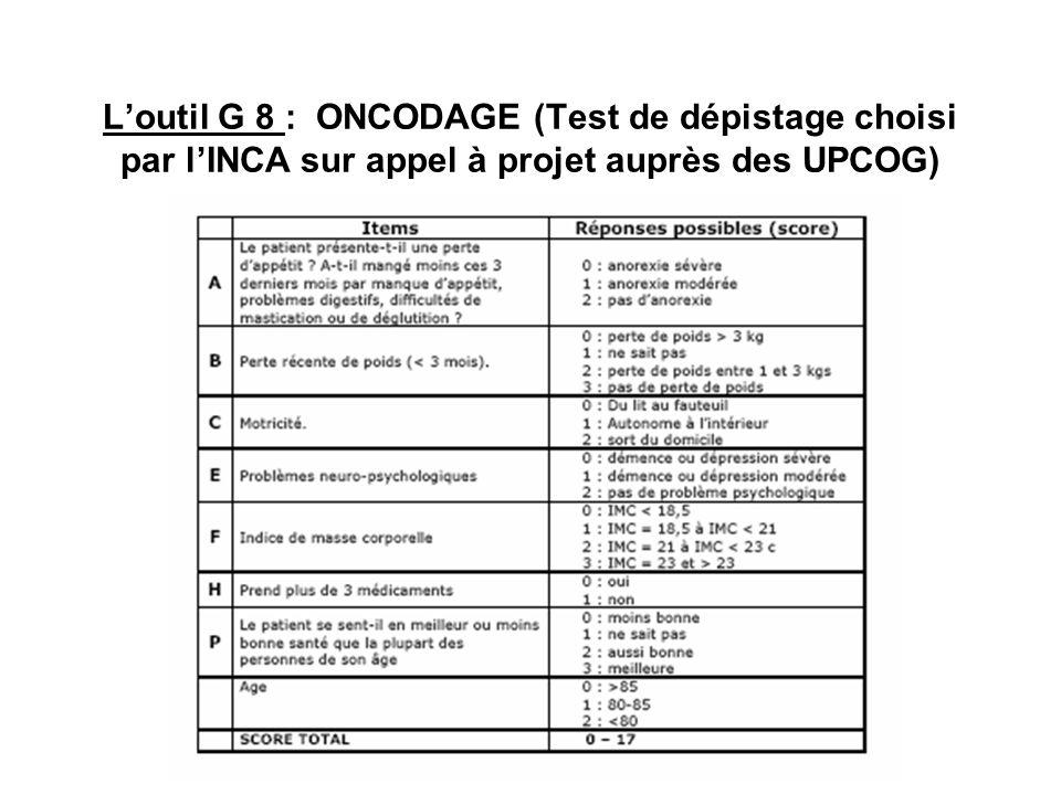 Loutil G 8 : ONCODAGE (Test de dépistage choisi par lINCA sur appel à projet auprès des UPCOG)