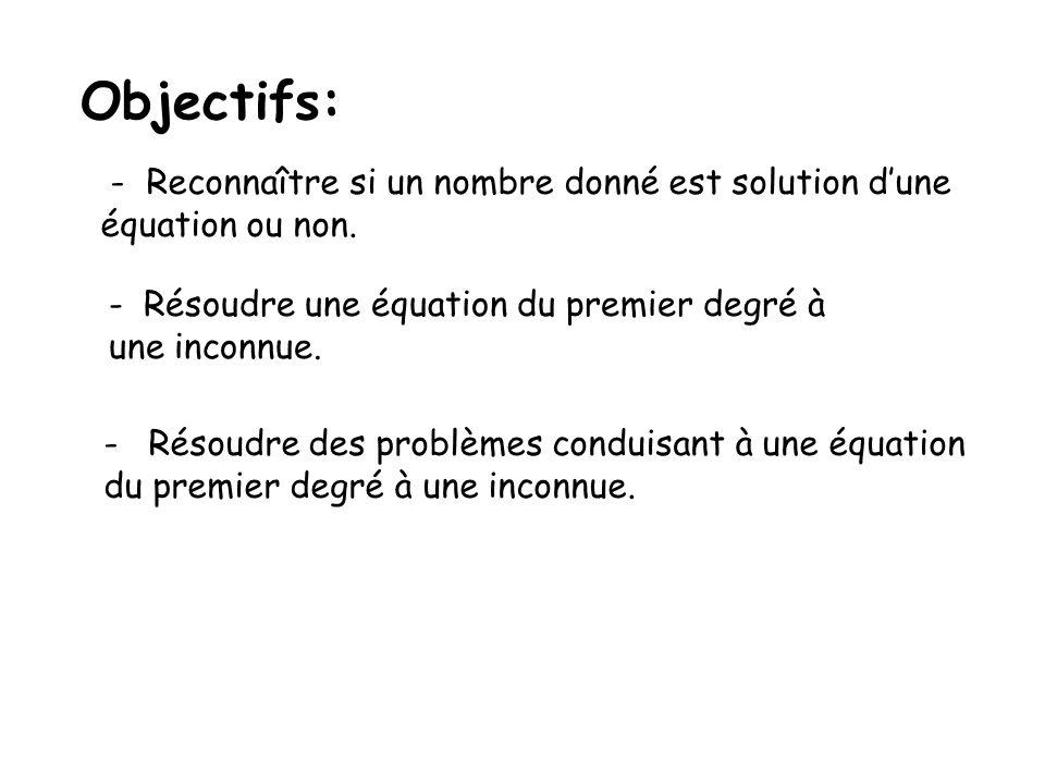 Objectifs: - Reconnaître si un nombre donné est solution dune équation ou non.