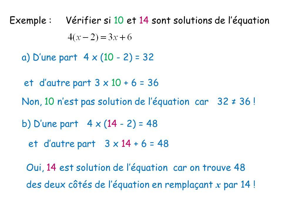 Exemple : Vérifier si 10 et 14 sont solutions de léquation a) Dune part 4 x (10 - 2) = 32 et dautre part 3 x 10 + 6 = 36 Non, 10 nest pas solution de léquation car 32 36 .