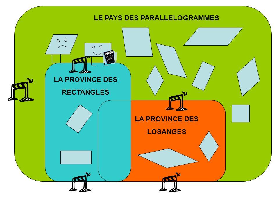 LE PAYS DES PARALLELOGRAMMES LA PROVINCE DES RECTANGLES LA PROVINCE DES LOSANGES