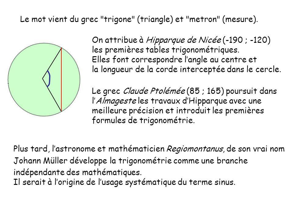 Ici on appelle α la mesure de l angle BÂC dans le triangle rectangle en C.