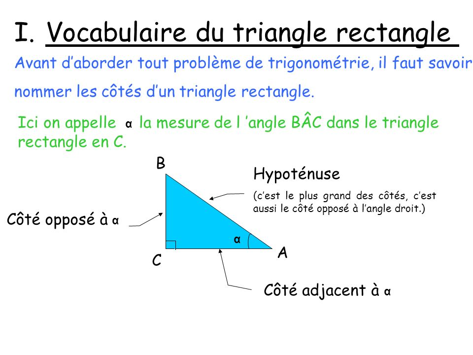 Ici on appelle α la mesure de l angle BÂC dans le triangle rectangle en C. Hypoténuse (cest le plus grand des côtés, cest aussi le côté opposé à langl