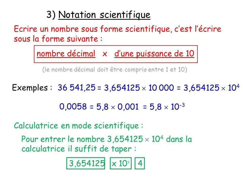 3) Notation scientifique Ecrire un nombre sous forme scientifique, cest lécrire sous la forme suivante : nombre décimal x dune puissance de 10 (le nom
