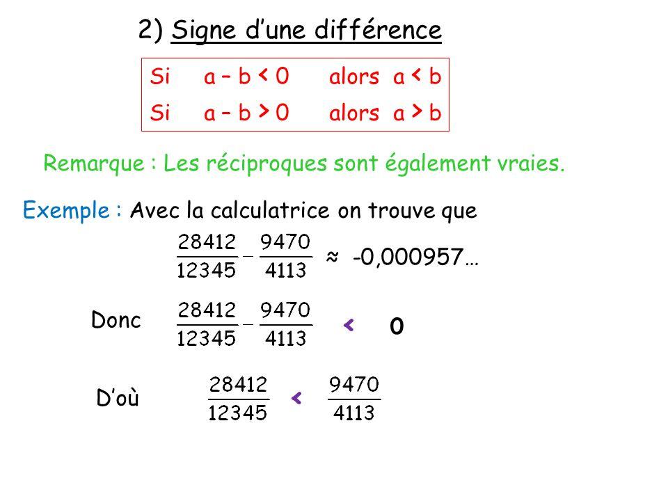 2) Signe dune différence Si a – b < 0 alors a < b Si a – b > 0 alors a > b Remarque : Les réciproques sont également vraies. Exemple : Avec la calcula