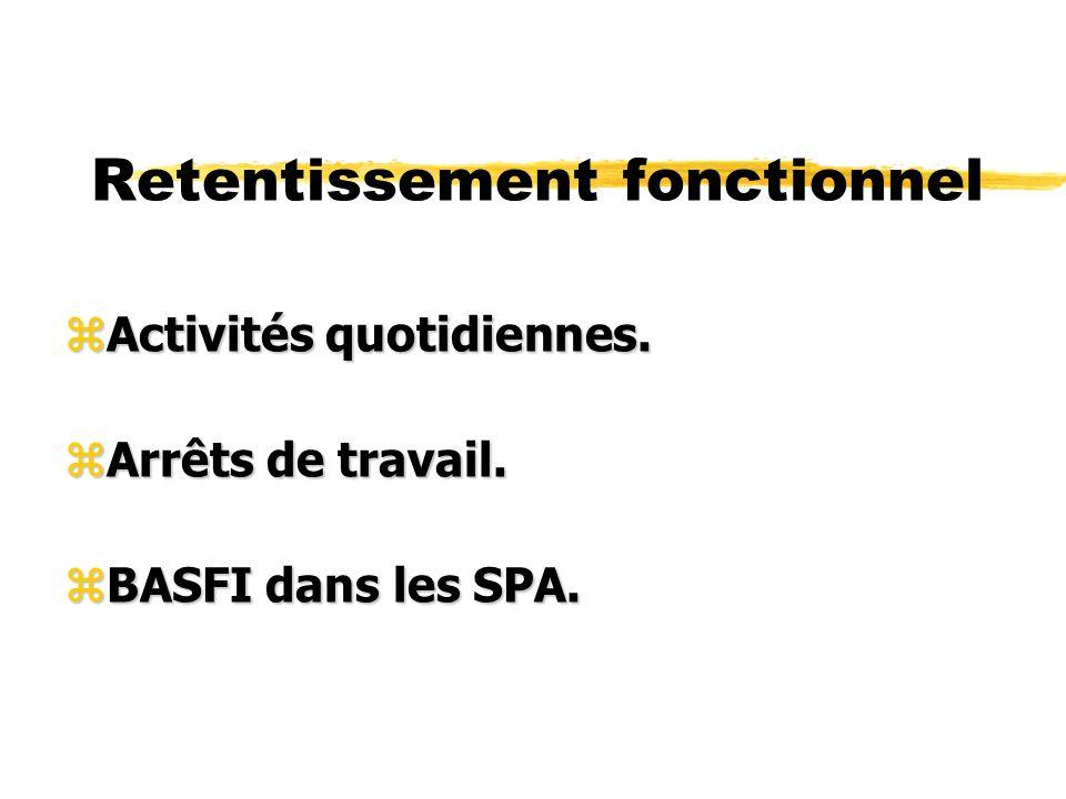 Retentissement fonctionnel zActivités quotidiennes. zArrêts de travail. zBASFI dans les SPA.