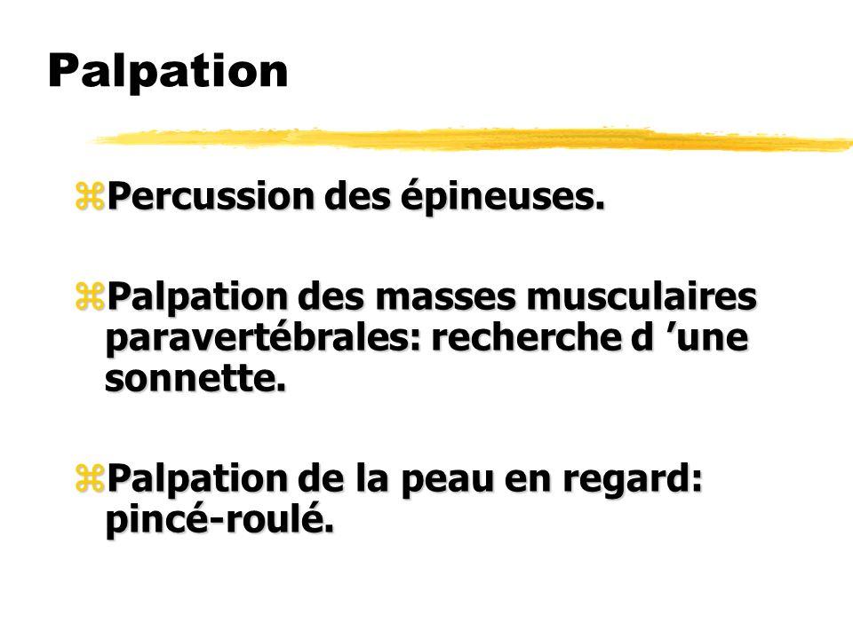Palpation zPercussion des épineuses. zPalpation des masses musculaires paravertébrales: recherche d une sonnette. zPalpation de la peau en regard: pin